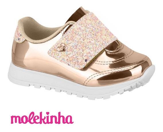 Zapatillas Sneakers Niña Glitter Abrojos Dia Del Niño