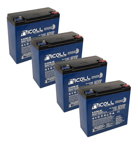Kit 4 Baterias Gel Nicoll 28ah 12v 6-dzm-20 Bike Elétrica