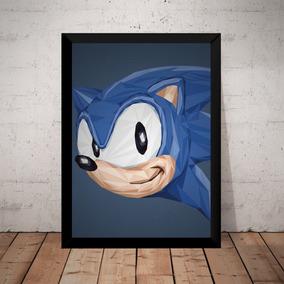 Quadro Decorativo Sonic Game Arte Poster Moldurado