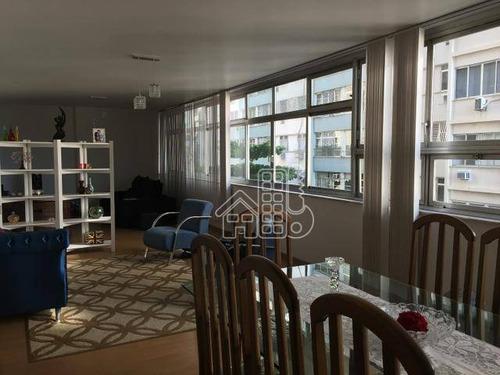 Apartamento Com 4 Dormitórios À Venda, 225 M² Por R$ 1.950.000,00 - Icaraí - Niterói/rj - Ap0453