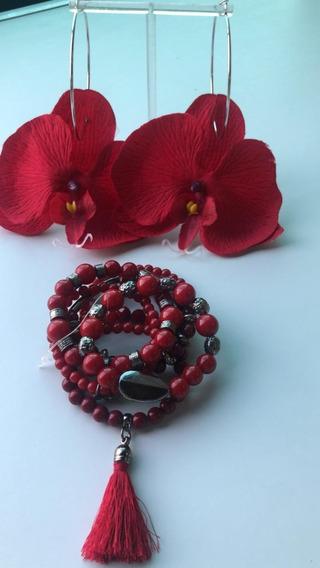 Kit Pulseiras Vermelha,acompanha Brinco Orquidea