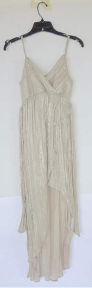 Vestido Importado Color Plata Falda Irreg Alaniz Fiesta T.s