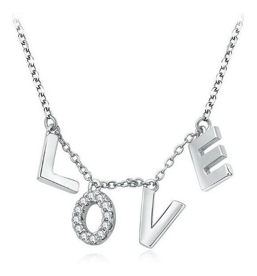 Collar Con Cristales, Amor De Cristal Ac16-873-oro Blanco