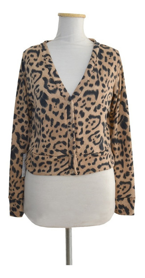 Cardigan Saquito Corto Lanilla Animal Print Pin Up Retro