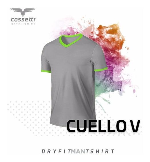 Playera Cuello V Cossetti Manga Corta Dry Fit Combina Xl 2xl