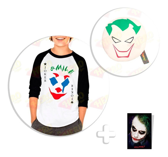 Kit Playera Raglan Niño Joker Movie 2019 + Peluche + Sticker