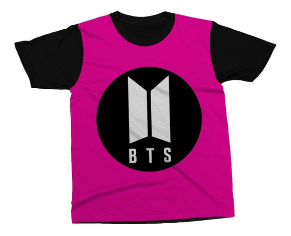 Camiseta Bts K-pop Camisa Bangtan Boys Logo Música Rosa Pink
