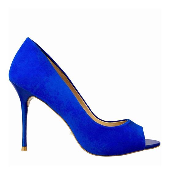 Scarpin Feminino Cristófoli Salto Alto Nobuck Vermelho/azul