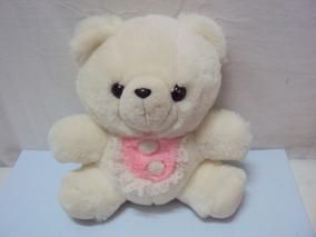 Pelucia Urso Branco Com Babador Rosa Tamanho 24cm
