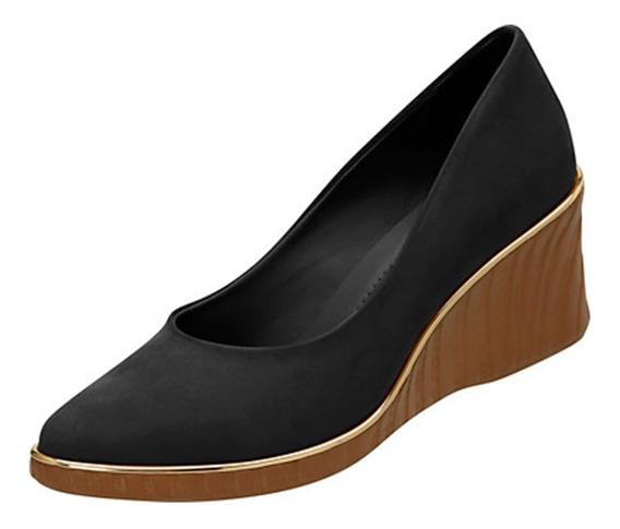 Sapato Feminino Anabela Azaleia Camurça Preto