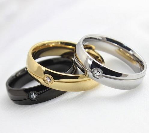 Anillo Elegante De Acero Negro - Compromisos , Matrimonio