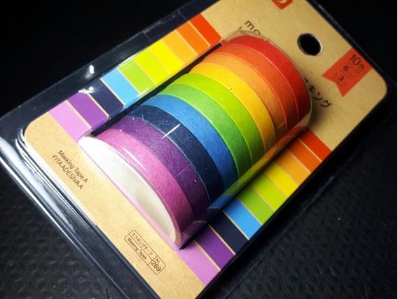 Jg C/10 Fita Adesiva Decorativa Washitape Coloridas Planner