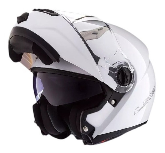 Casco Moto Ls2 Ff370 Abatible Blanco Brillante