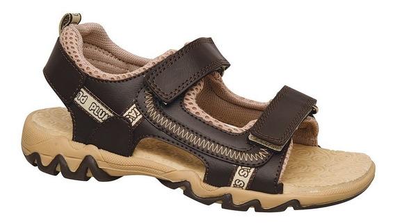Sandalia Para Agua Zigzag Plumitas Marró Con Abrojo De Niños