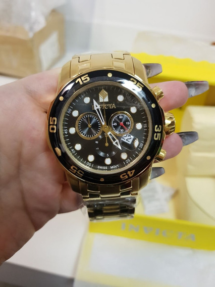 Relogio Invicta Pro Diver 0072 Gold Dourado 18k Original