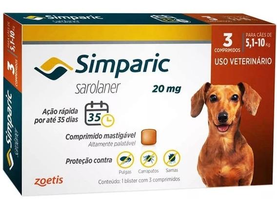 Combo Simparic 20 Mg 5 A 10 Kg Original 3 Comprimidos