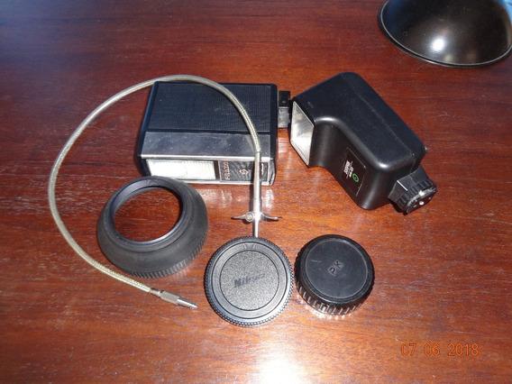 Flash,cabo Disparador E Parasol Nikon