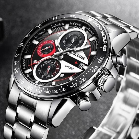 Lige Moda Homens Relógios Aço Inoxidável À Prova D
