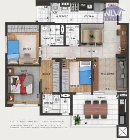 Apartamento Com 3 Dormitórios À Venda, 88 M² Por R$ 724.850,00 - Macedo - Guarulhos/sp - Ap3187
