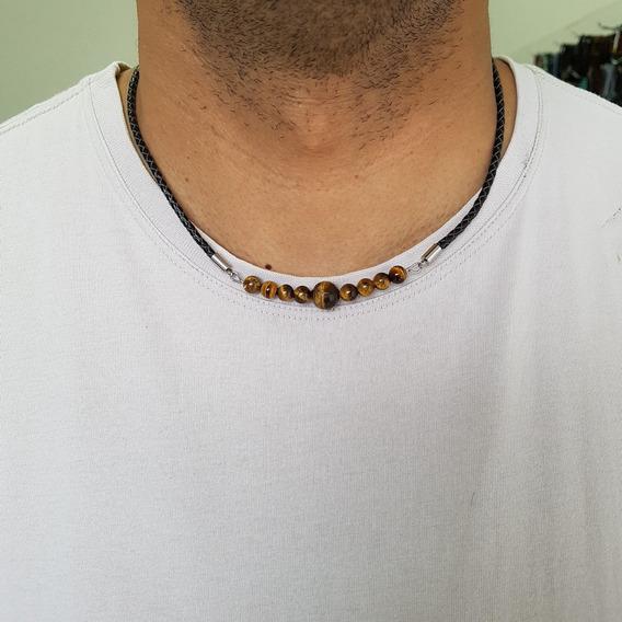 Cordão Colar Couro Legítimo Masculino Pedras Olho De Tigre