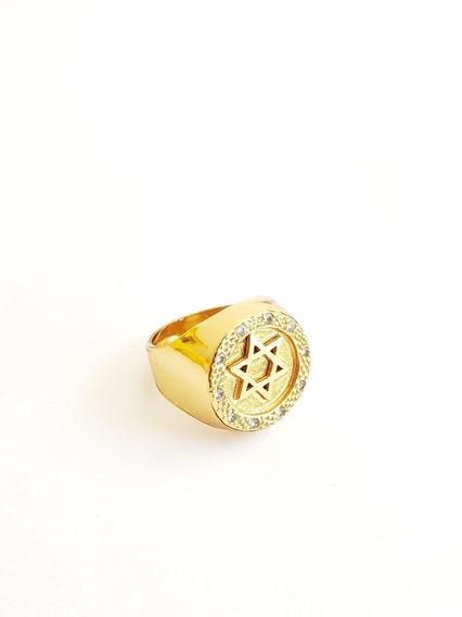 Anel Estrela De Davi Com Pedras Cravejadas Banhado A Ouro