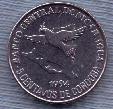 Nicaragua 5 Centavos 1994 * Pajaro Volando * Escudo *