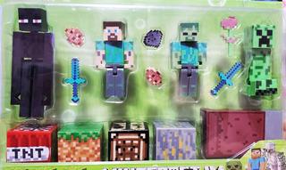Muñecos De Minecraft Set X4 Figuras Y Accesorios Cama Steve