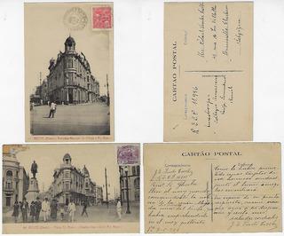 Pe 1926 2x Cartão Postal Recife Rio Branco Marquês De Olinda