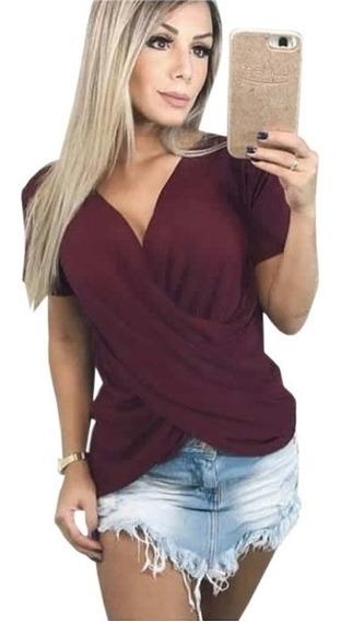 Camiseta Blusa Bata Transpassada Manga Curta Feminina Basica