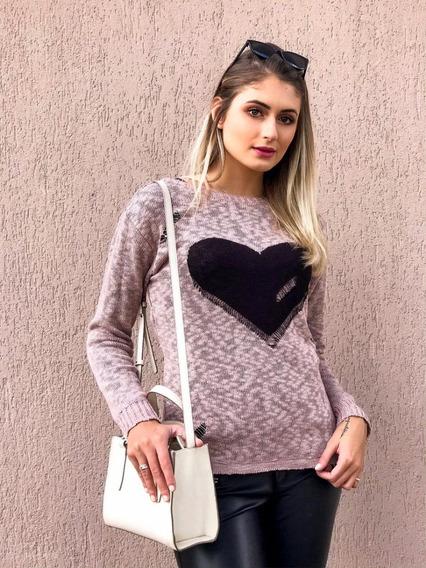 Blusa De Trico Tricot Feminina Coração Inverno Frio Malha