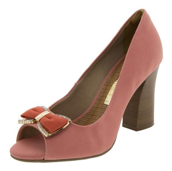 Sapato Feminino Peep Toe Via Marte Coral Nobuck 9cm