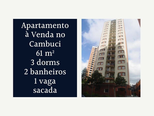 Apartamento Pronto À Venda No Cambuci - 61 M², 3 Dorms, 2 Banheiros, 1 Vaga, Com Sacada - 187