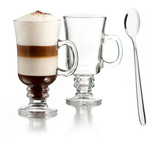 Set De 6 Tazas + Cucharas Para Cappuchino 250cc Irish Coffee