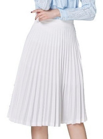 Saia Plissada Plissê Midi Evangélica Chiffon Feminina Moda
