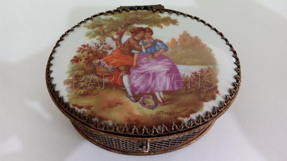 Caixa Em Bronze Placa Porcelana Assinada Cena Romântica Rara