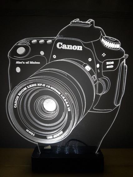 Abajur Luminária De Acrílico De Led Câmera Fotográfica Canon