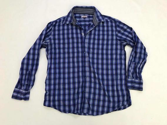 Camisa Uspoloassn Hombre Talla L Manga Larga Azul Cuadros