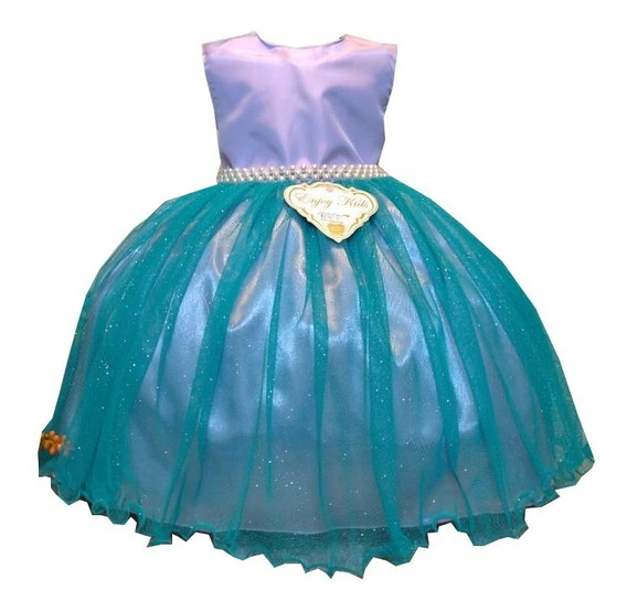 Vestido Infantil Sereia Fundo Do Mar Super Luxo 1 A 3 Anos