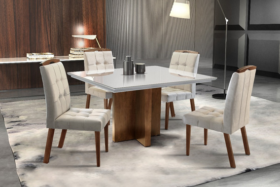 Conjunto Sala De Jantar Isis Mesa C/ 4 Cadeiras Solare+frete