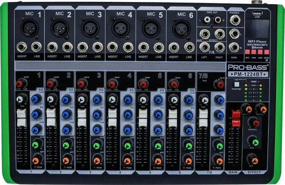 Mesa Som Pro Bass 8 Canais Pm-1224 Usb Bt 110v Mixer Pm1224