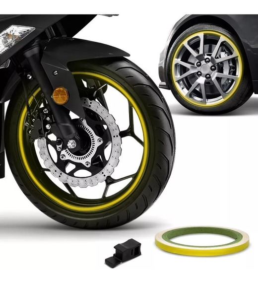 Friso Roda Refletivo 7mm E Aplicador Adesivo 3m Moto E Carro