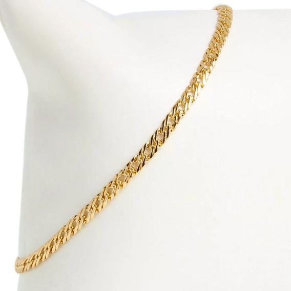 Elegante Esclava Pulsera De Hombre Mujer Tejida En Oro Lamin 18k De 17cm X 3mm