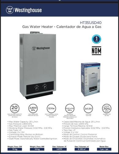 Calentador A Gas Westinghouse 20 Litros