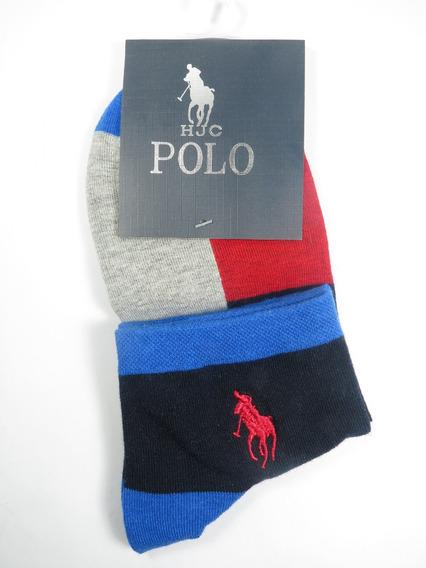 Meia Infantil Polo Hjc 25-27 - Vermelho, Cinza, Preto E Azul