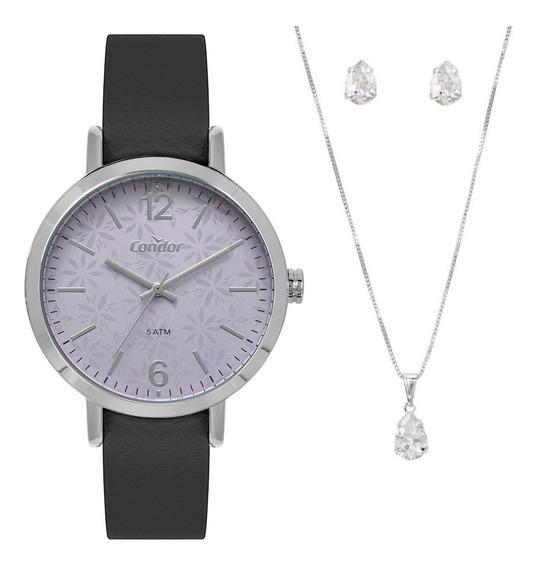 Relógio Condor Feminino Prata E Roxo Kit Com Colar E Brincos