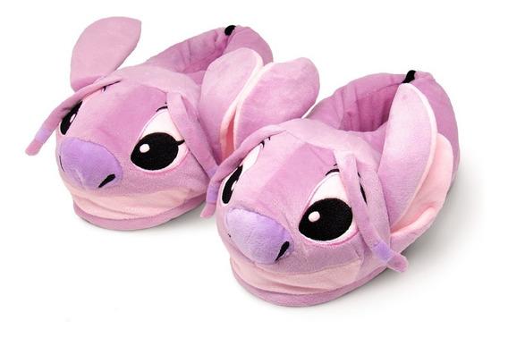 Pantufa 3d Stitch Angel - Solado Borracha - Original Disney