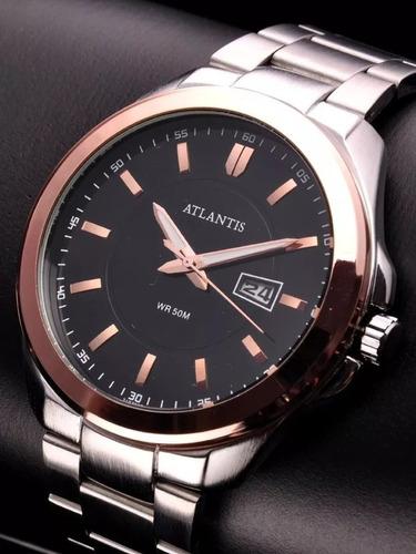 Relógio Masculino Atlants G3197 Prata Com Rose Vedado