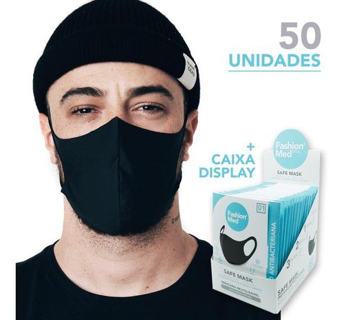 Kit 50 Máscaras Reutilizável C/ Caixa Expositora Fashion Med
