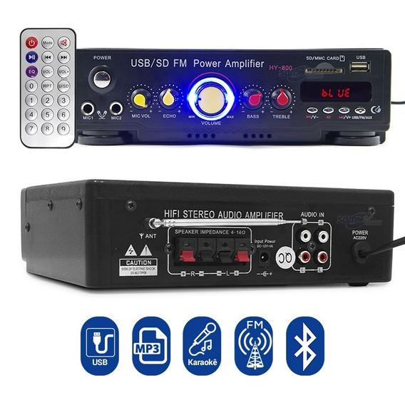 Amplificador P/ Caixa De Som Em Computador + Radio Fm Bt Mp3