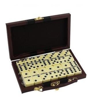 Domino Com 28 Pedras Com Maleta De Couro E Alça Luxo